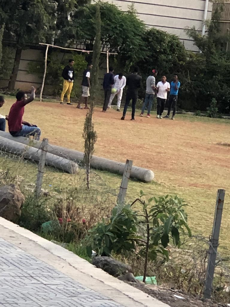 The youth 'bored' from staying at home, Addis Ababa, 14 April 2020.